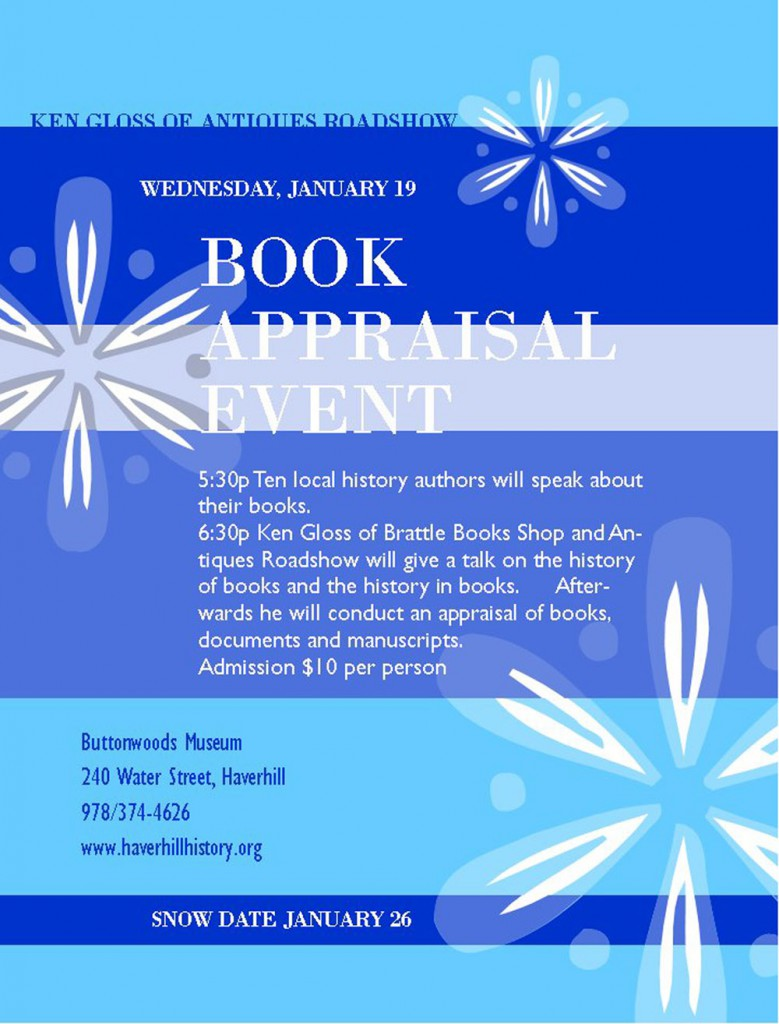Buttonwoods - NEAE Book Appraisal Event flyer