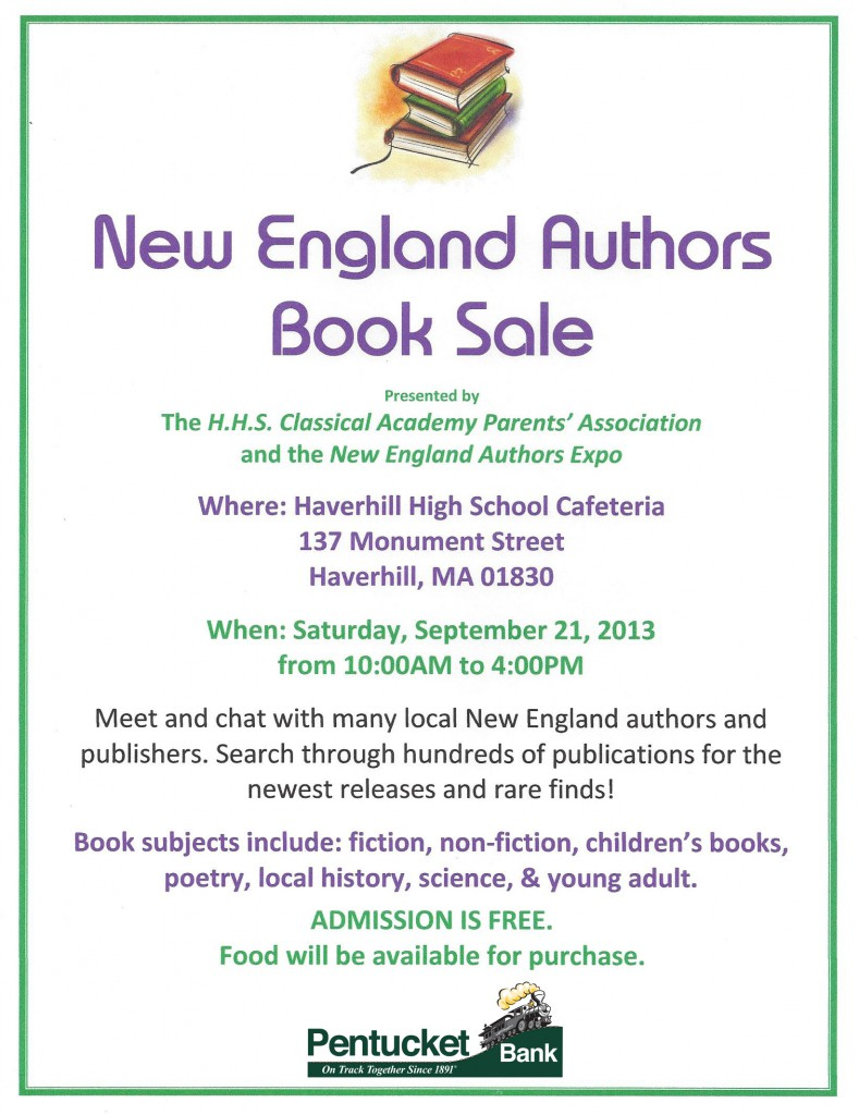 Flyer for the 2013 New England Authors Book Sale