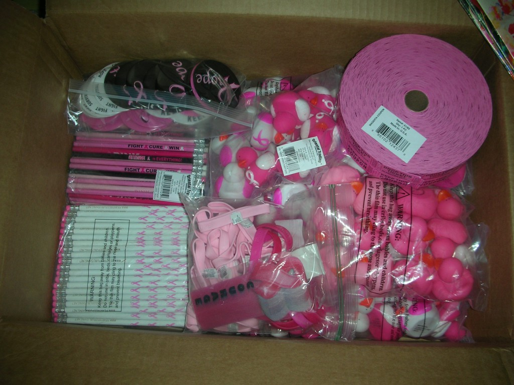 Some of the free items we gave out to support My Breast Cancer Stories.