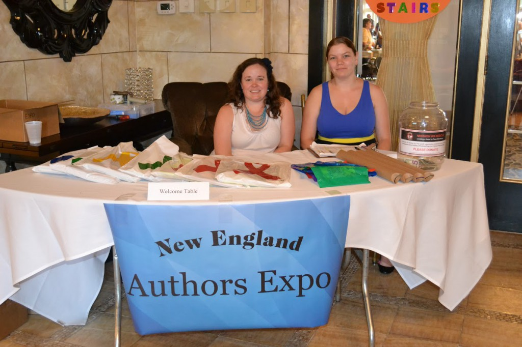 Renae and Shari welcome people to the 2015 New England Authors Expo